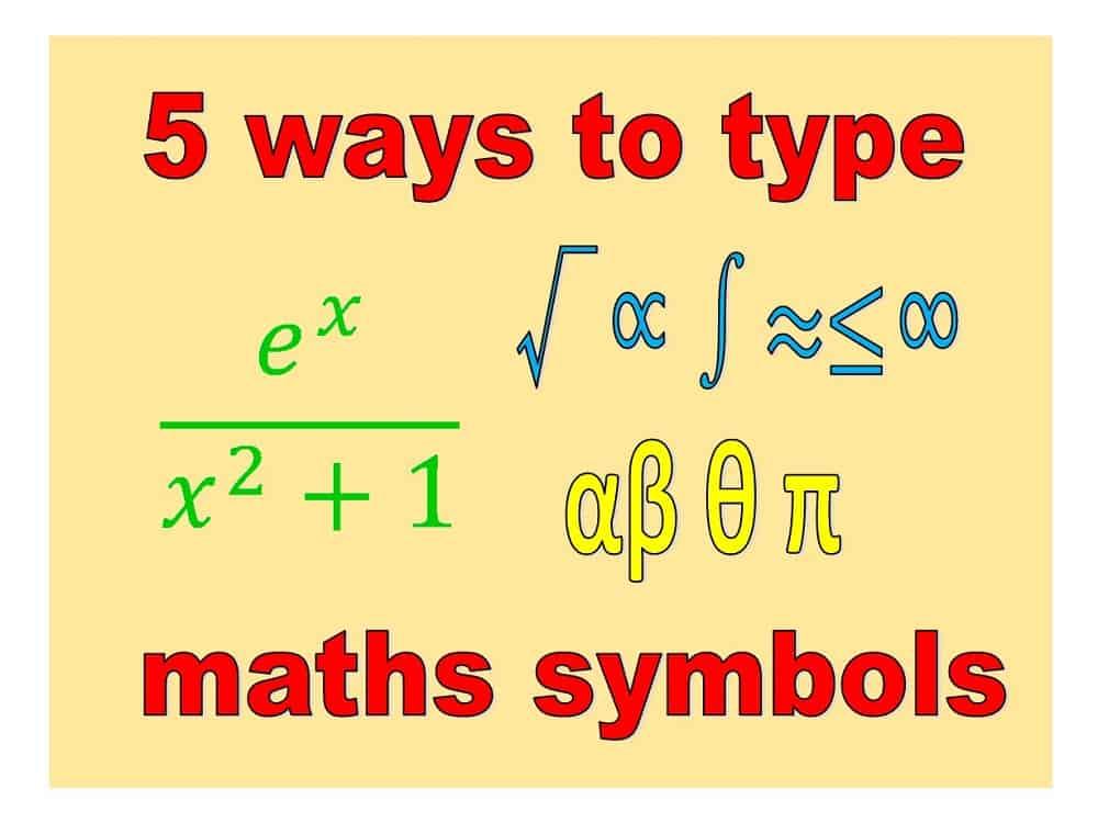Type Maths Symbols